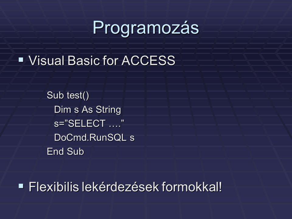 Programozás Visual Basic for ACCESS Flexibilis lekérdezések formokkal!