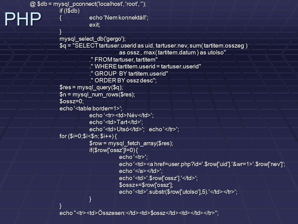PHP @ $db = mysql_pconnect( localhost , root , ); if (!$db)