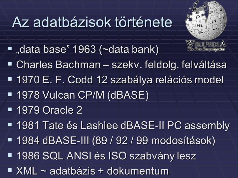 Az adatbázisok története