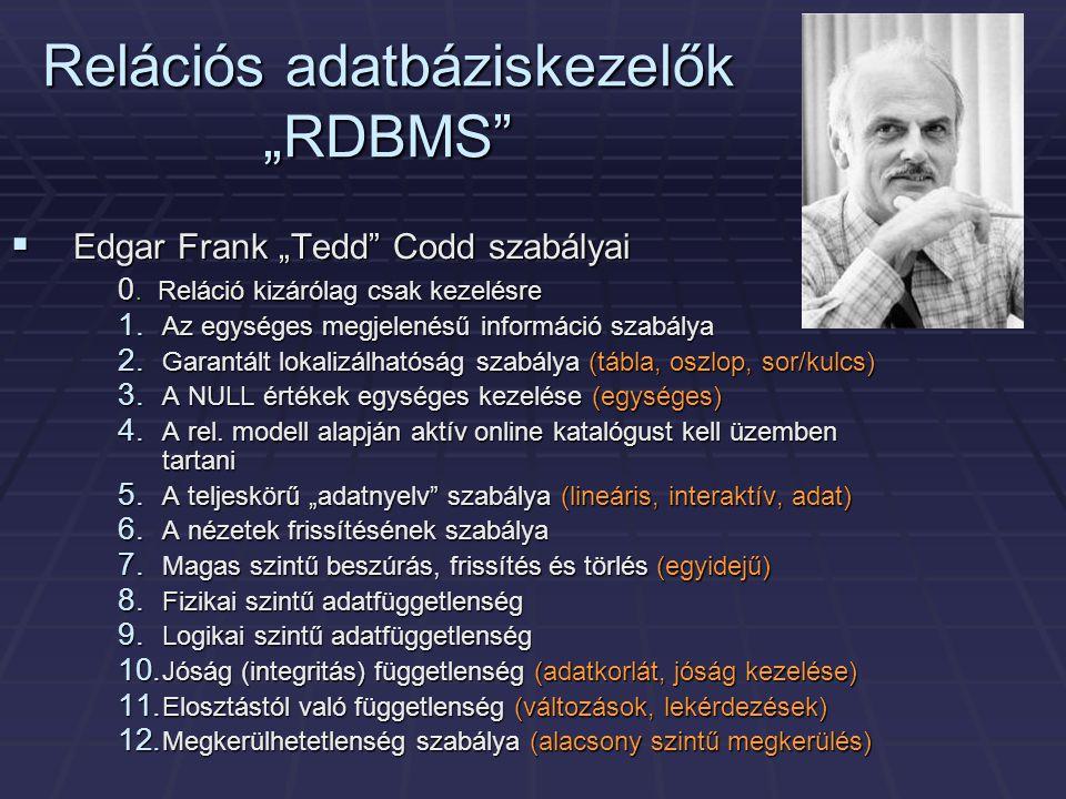"""Relációs adatbáziskezelők """"RDBMS"""