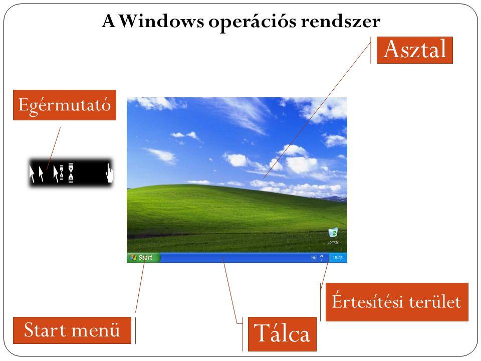 Asztal Tálca Start menü A Windows operációs rendszer Egérmutató