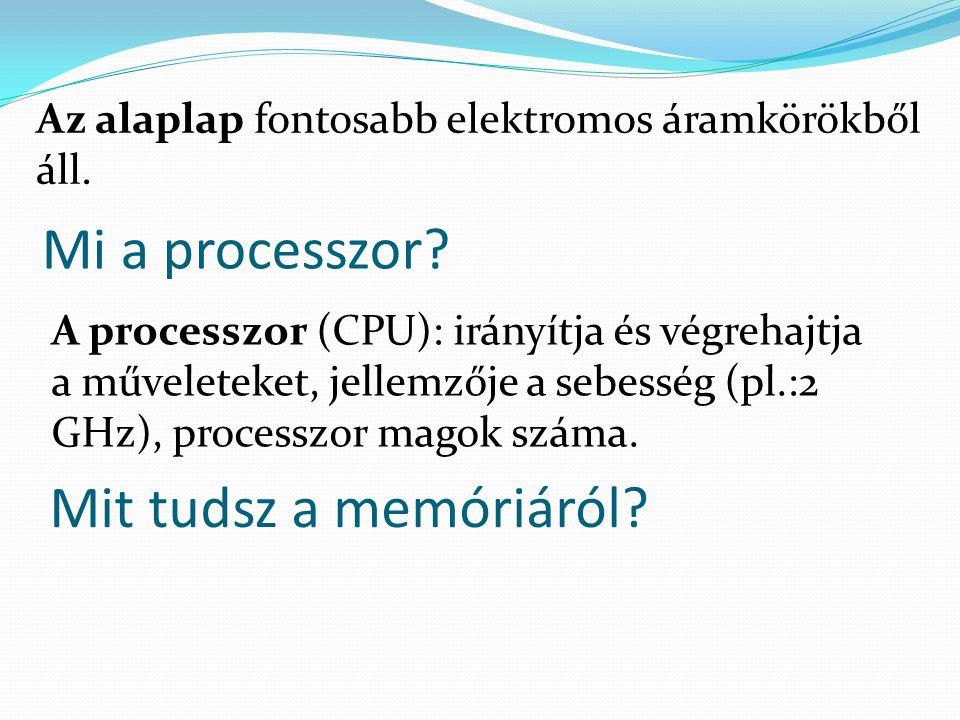 Mi a processzor Mit tudsz a memóriáról