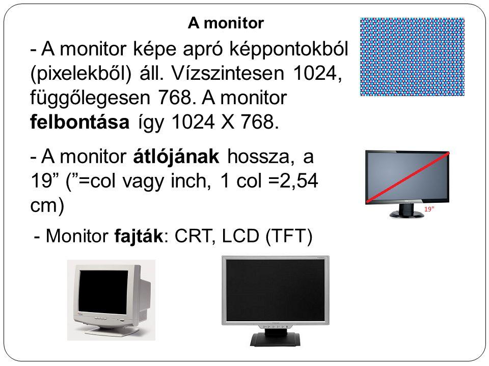- A monitor átlójának hossza, a 19 ( =col vagy inch, 1 col =2,54 cm)