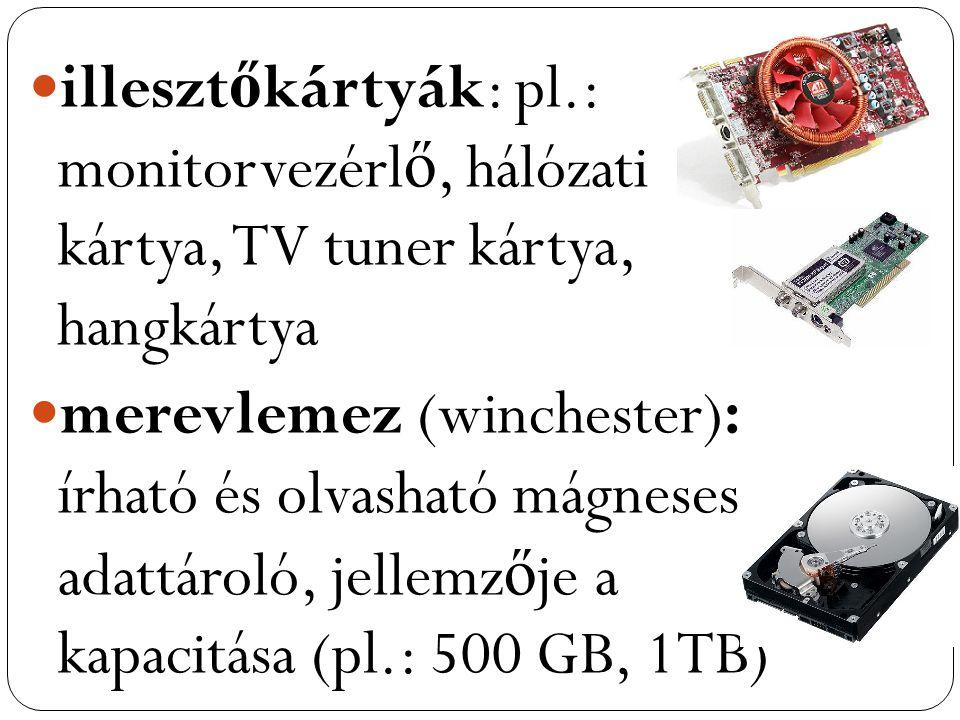 illesztőkártyák: pl.: monitorvezérlő, hálózati kártya, TV tuner kártya, hangkártya