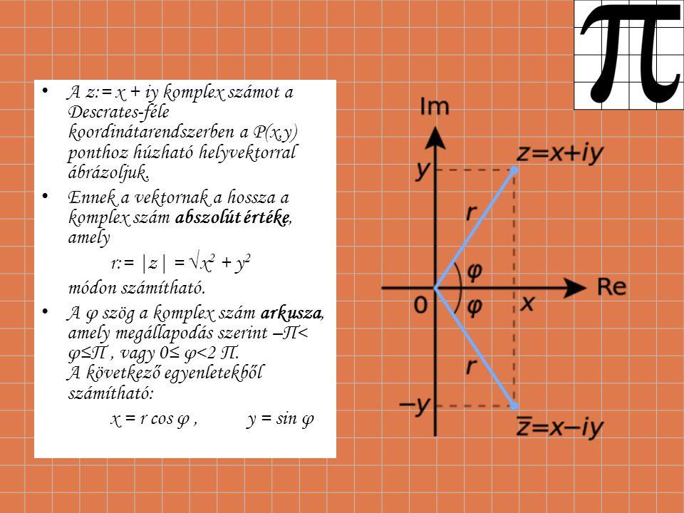 A z:= x + iy komplex számot a Descrates-féle koordinátarendszerben a P(x,y) ponthoz húzható helyvektorral ábrázoljuk.