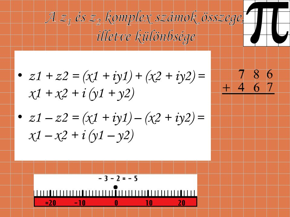 A z1 és z2 komplex számok összege, illetve különbsége