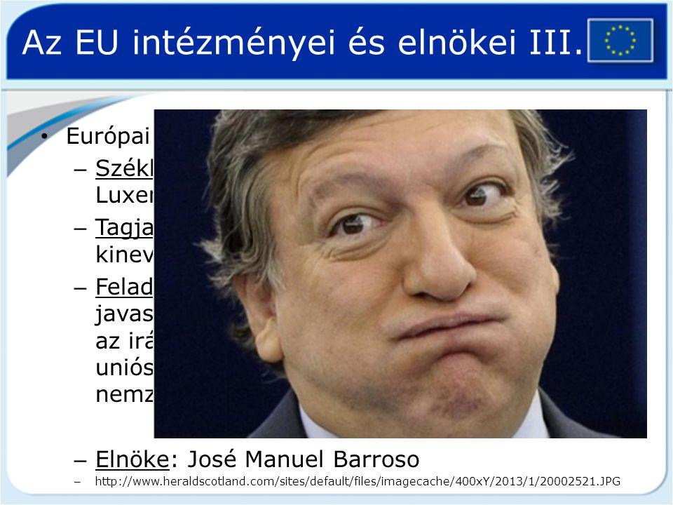 Az EU intézményei és elnökei III.