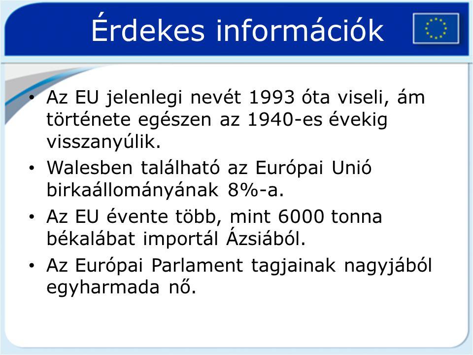 Érdekes információk Az EU jelenlegi nevét 1993 óta viseli, ám története egészen az 1940-es évekig visszanyúlik.