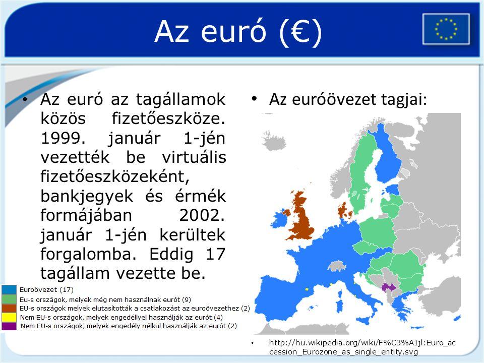 Az euró (€) Az euróövezet tagjai: