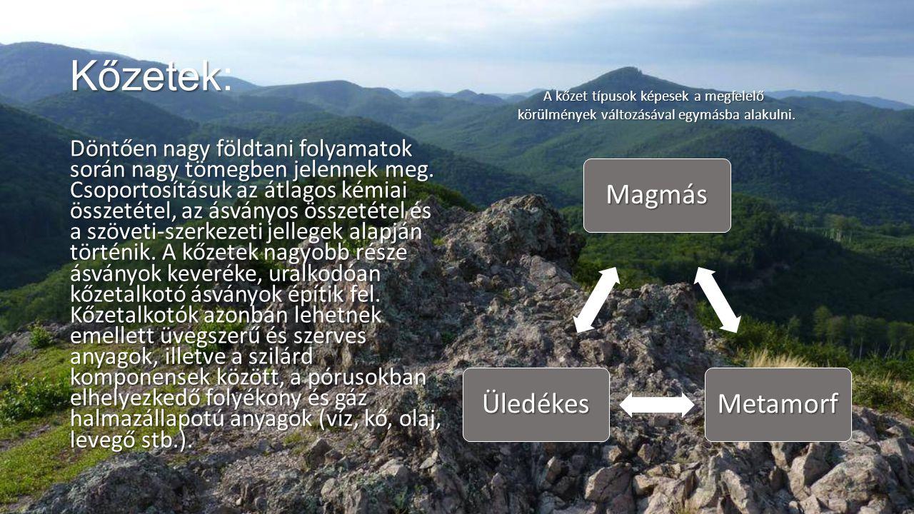 Kőzetek: A kőzet típusok képesek a megfelelő körülmények változásával egymásba alakulni.