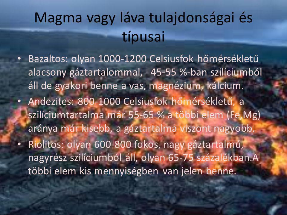 Magma vagy láva tulajdonságai és típusai
