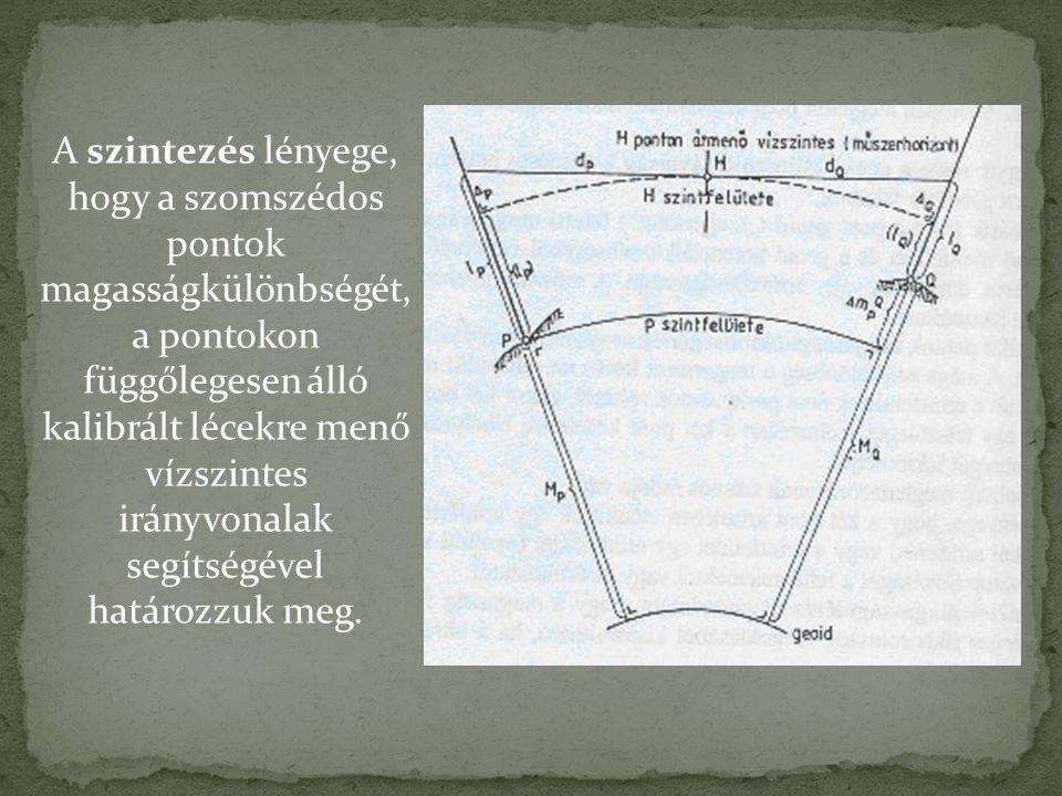 A szintezés lényege, hogy a szomszédos pontok magasságkülönbségét, a pontokon függőlegesen álló kalibrált lécekre menő vízszintes irányvonalak segítségével határozzuk meg.