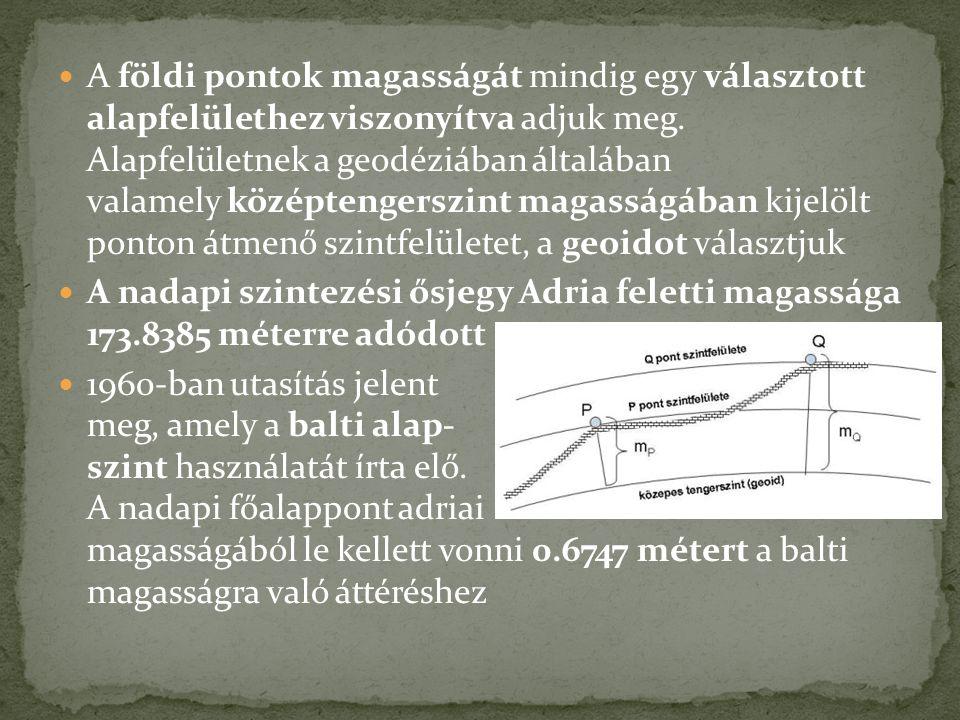 A földi pontok magasságát mindig egy választott alapfelülethez viszonyítva adjuk meg. Alapfelületnek a geodéziában általában valamely középtengerszint magasságában kijelölt ponton átmenő szintfelületet, a geoidot választjuk