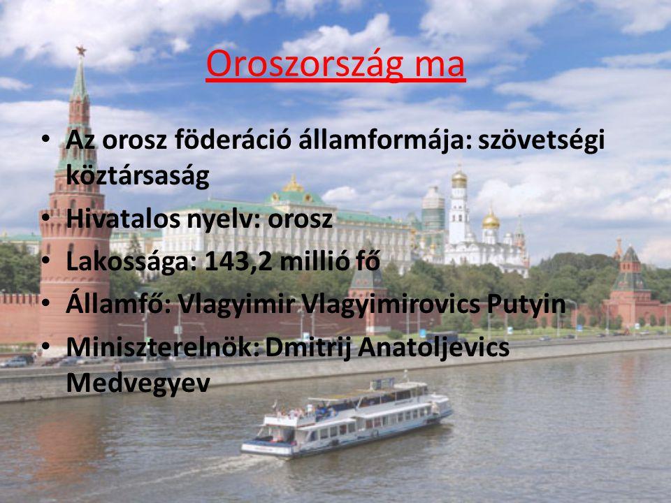 Oroszország ma Az orosz föderáció államformája: szövetségi köztársaság