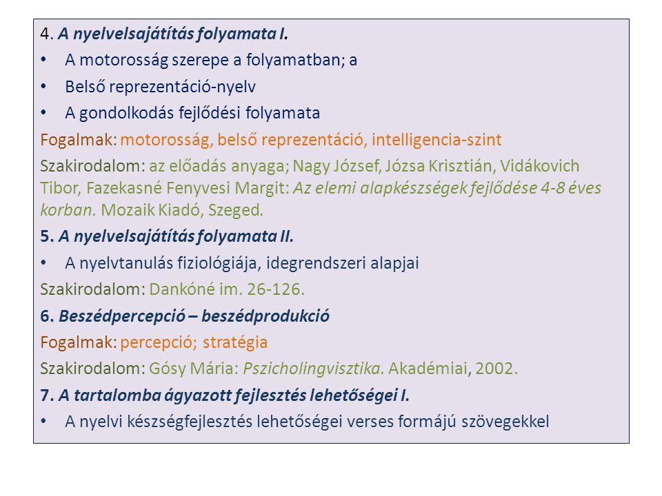 4. A nyelvelsajátítás folyamata I.