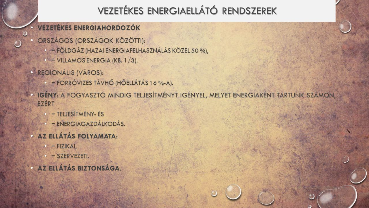 Vezetékes energiaellátó rendszerek