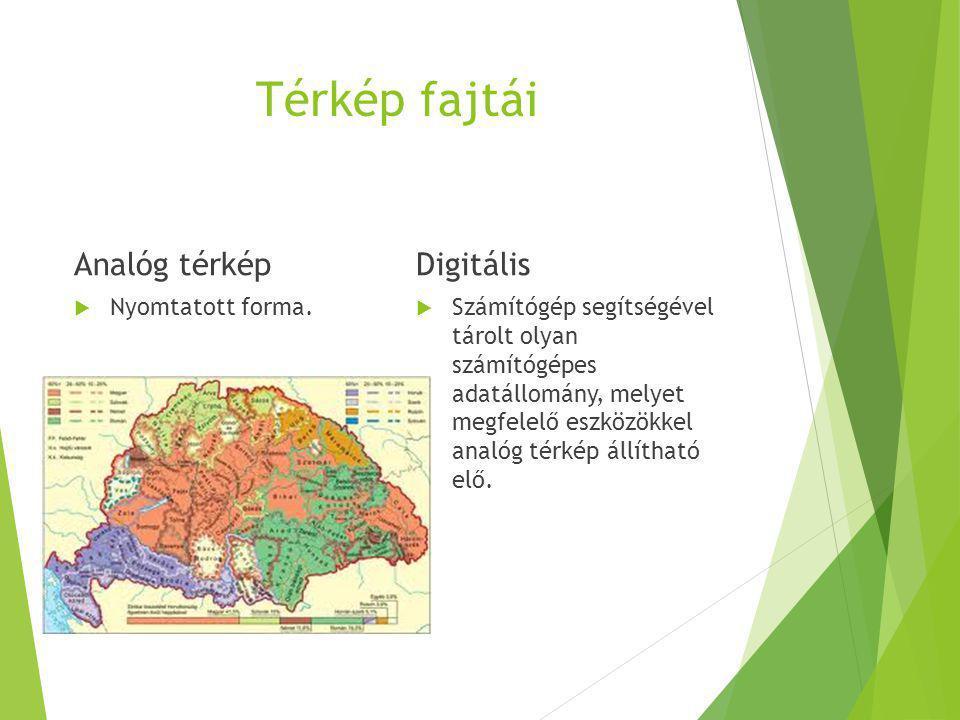 Térkép fajtái Analóg térkép Digitális Nyomtatott forma.