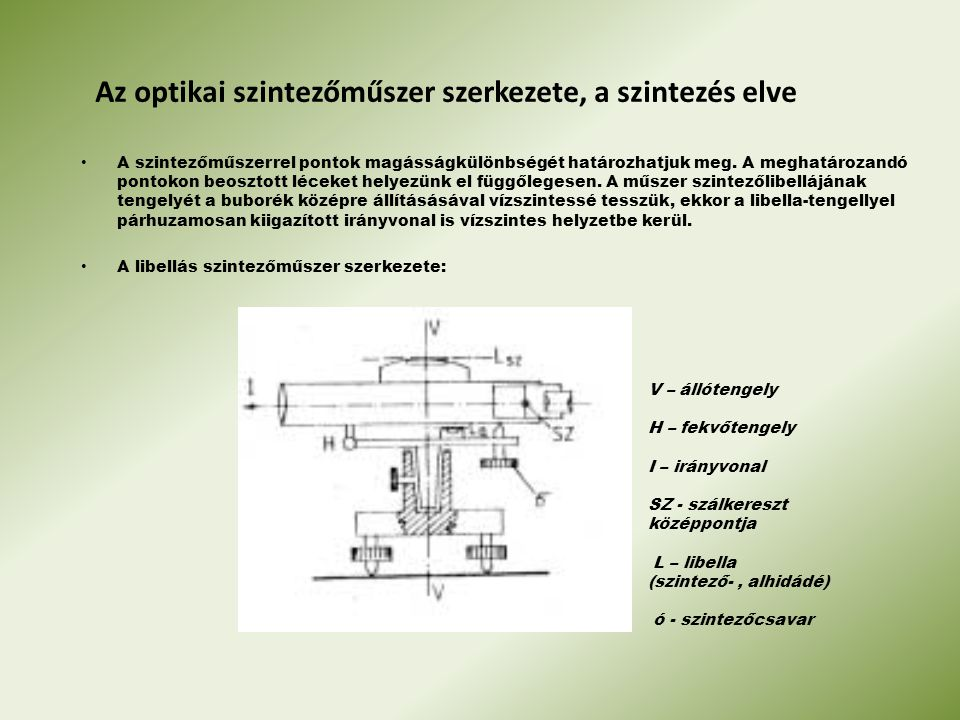 Az optikai szintezőműszer szerkezete, a szintezés elve