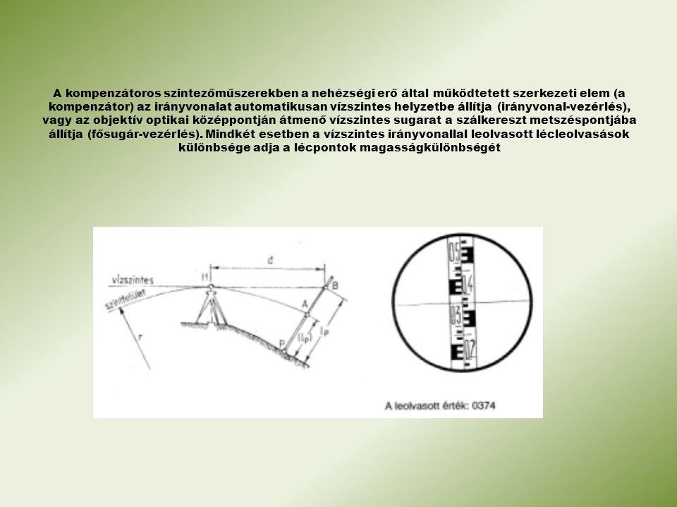 A kompenzátoros szintezőműszerekben a nehézségi erő által működtetett szerkezeti elem (a kompenzátor) az irányvonalat automatikusan vízszintes helyzetbe állítja (irányvonal-vezérlés), vagy az objektív optikai középpontján átmenő vízszintes sugarat a szálkereszt metszéspontjába állítja (fősugár-vezérlés).