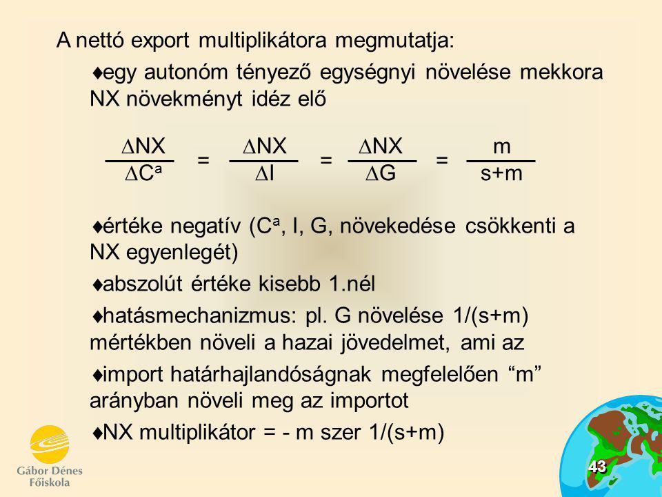 = = = NX. G. Ca. I. m. s+m. A nettó export multiplikátora megmutatja: