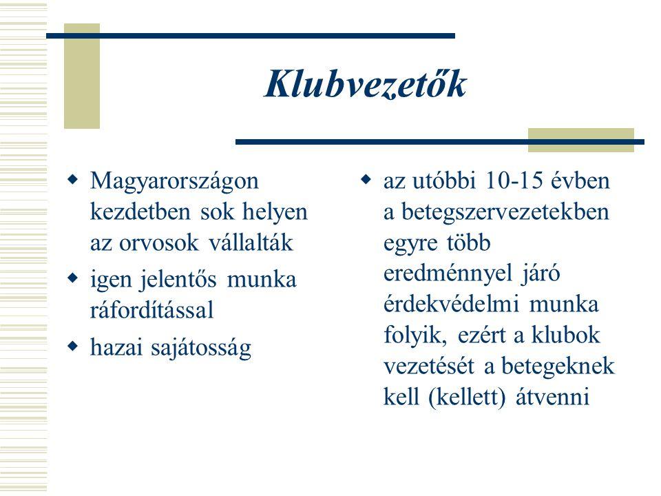 Klubvezetők Magyarországon kezdetben sok helyen az orvosok vállalták