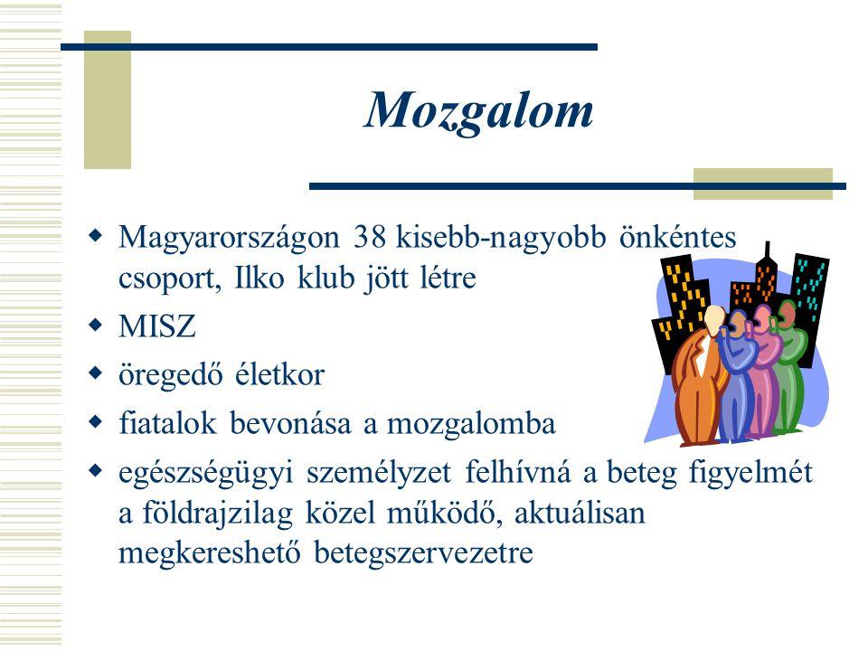 Mozgalom Magyarországon 38 kisebb-nagyobb önkéntes csoport, Ilko klub jött létre. MISZ. öregedő életkor.