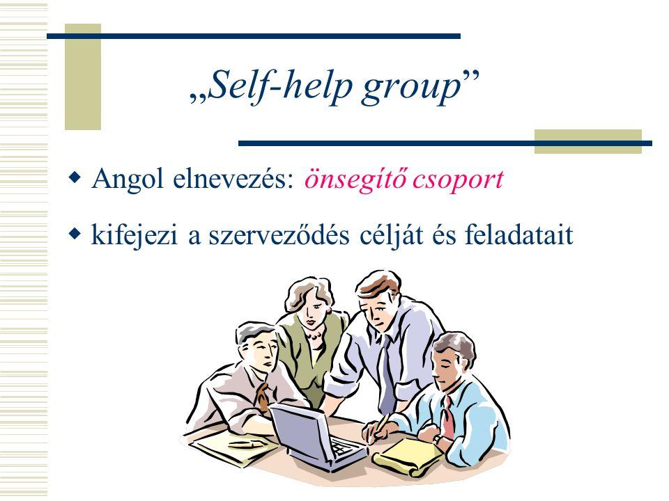 """""""Self-help group Angol elnevezés: önsegítő csoport"""