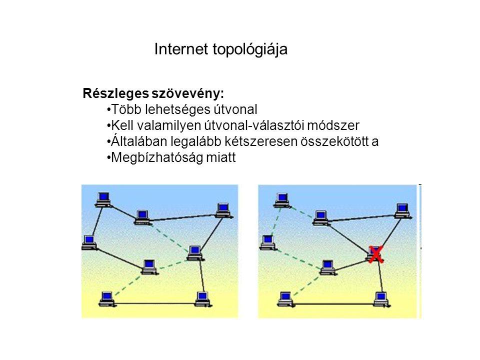 Internet topológiája Részleges szövevény: Több lehetséges útvonal