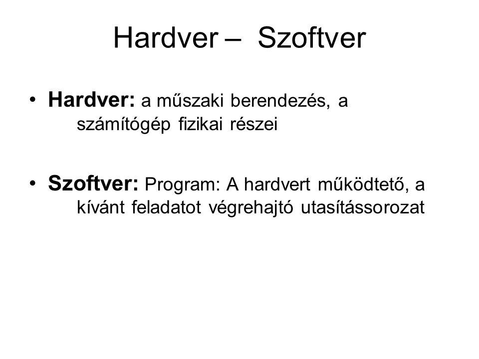 Hardver – Szoftver Hardver: a műszaki berendezés, a számítógép fizikai részei.