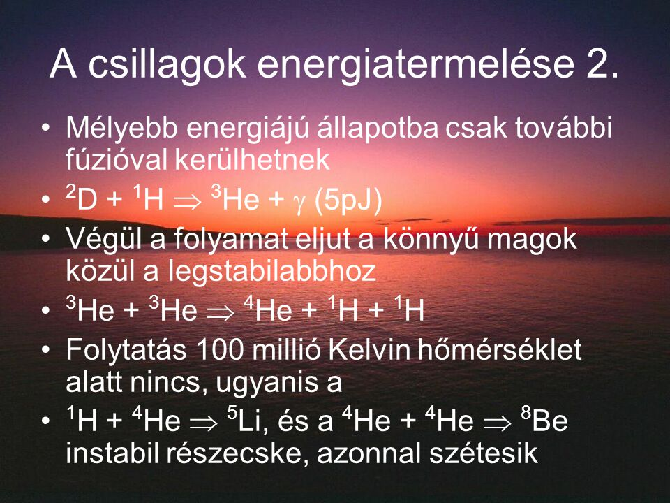 A csillagok energiatermelése 2.