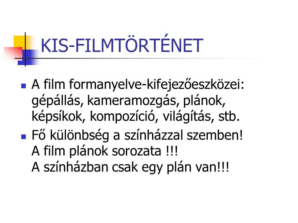 KIS-FILMTÖRTÉNET A film formanyelve-kifejezőeszközei: gépállás, kameramozgás, plánok, képsíkok, kompozíció, világítás, stb.