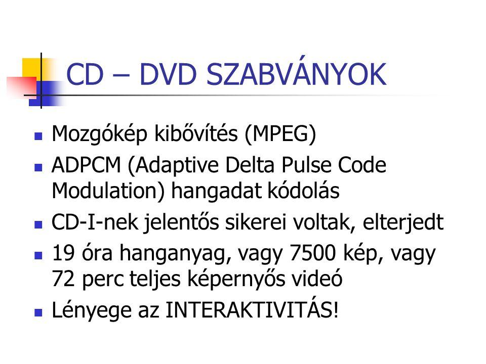 CD – DVD SZABVÁNYOK Mozgókép kibővítés (MPEG)