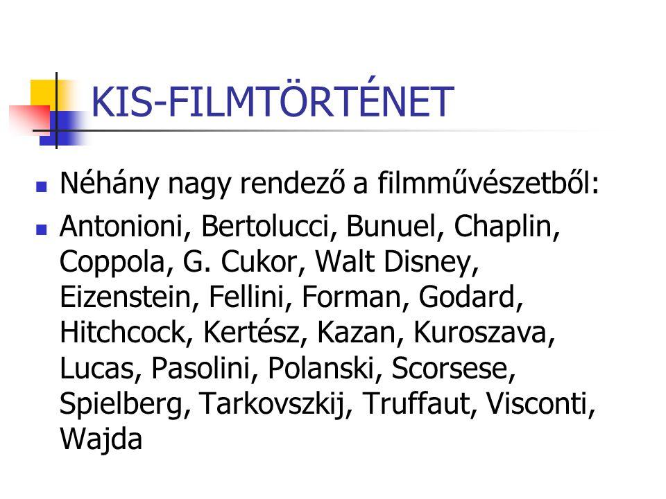 KIS-FILMTÖRTÉNET Néhány nagy rendező a filmművészetből: