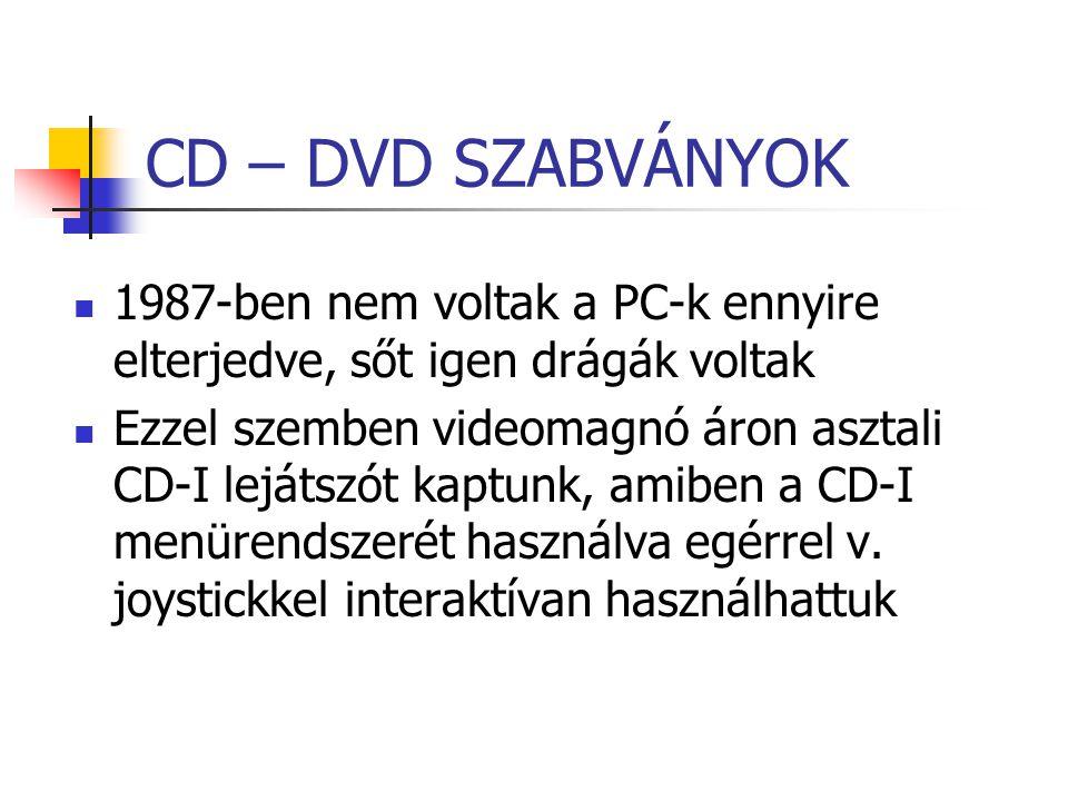 CD – DVD SZABVÁNYOK 1987-ben nem voltak a PC-k ennyire elterjedve, sőt igen drágák voltak.