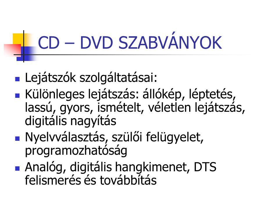 CD – DVD SZABVÁNYOK Lejátszók szolgáltatásai: