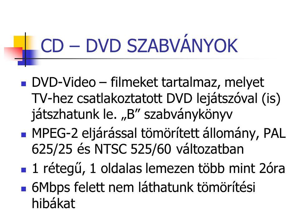 """CD – DVD SZABVÁNYOK DVD-Video – filmeket tartalmaz, melyet TV-hez csatlakoztatott DVD lejátszóval (is) játszhatunk le. """"B szabványkönyv."""