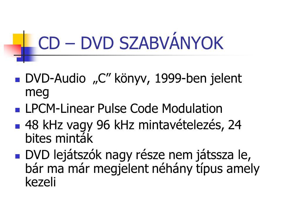 """CD – DVD SZABVÁNYOK DVD-Audio """"C könyv, 1999-ben jelent meg"""
