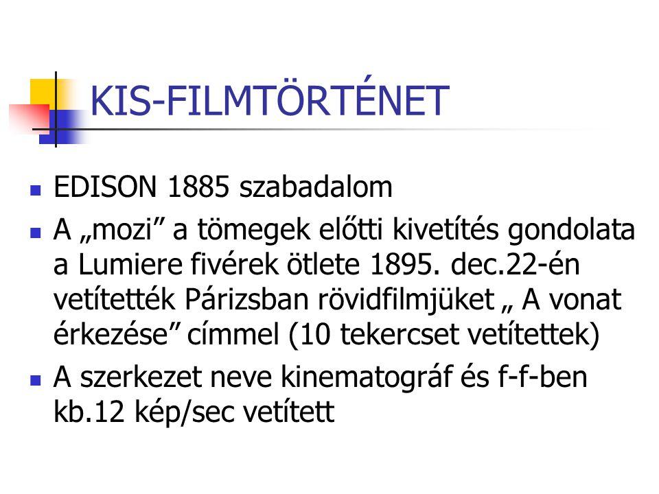 KIS-FILMTÖRTÉNET EDISON 1885 szabadalom
