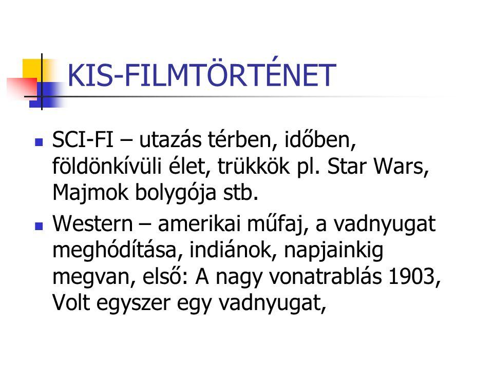 KIS-FILMTÖRTÉNET SCI-FI – utazás térben, időben, földönkívüli élet, trükkök pl. Star Wars, Majmok bolygója stb.