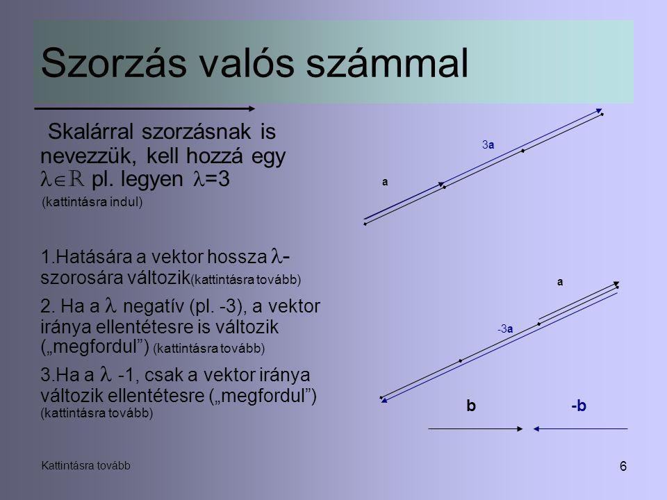 Szorzás valós számmal 3a. Skalárral szorzásnak is nevezzük, kell hozzá egy R pl. legyen =3. (kattintásra indul)