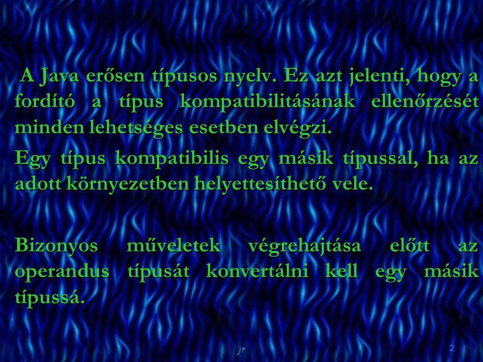 A Java erősen típusos nyelv