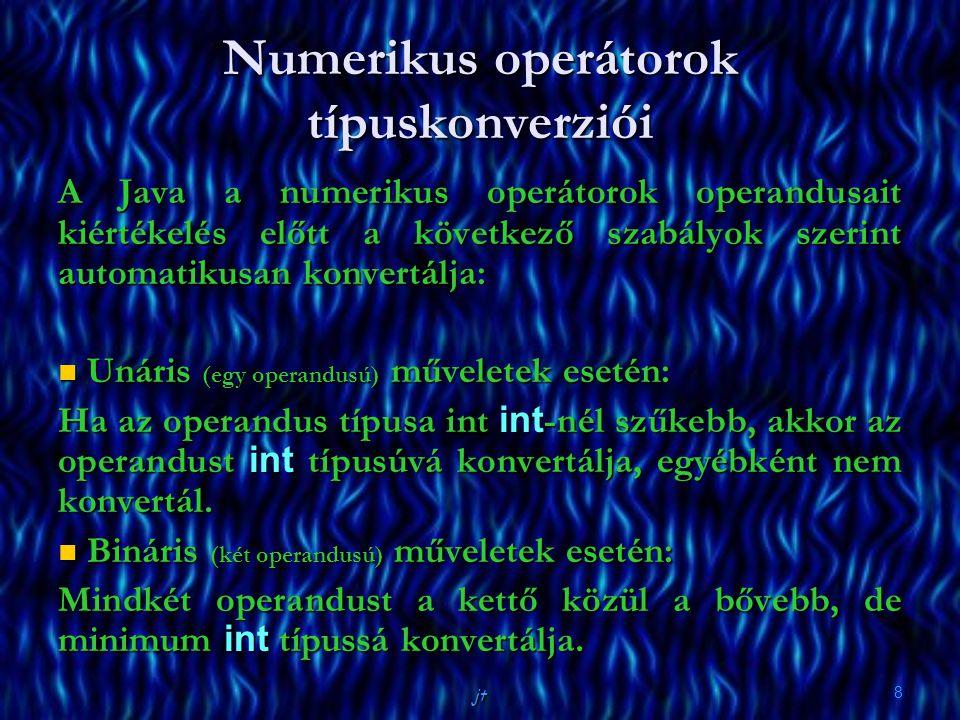Numerikus operátorok típuskonverziói