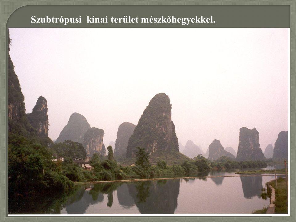 Szubtrópusi kínai terület mészkőhegyekkel.