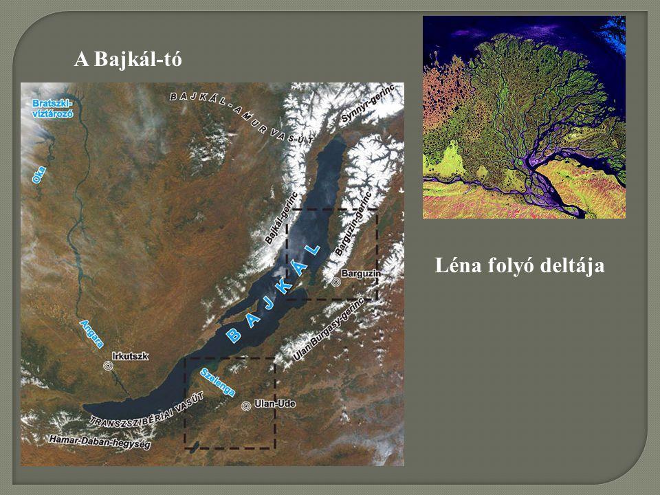 A Bajkál-tó Léna folyó deltája