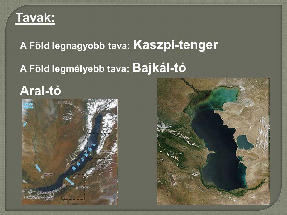Tavak: Aral-tó A Föld legnagyobb tava: Kaszpi-tenger