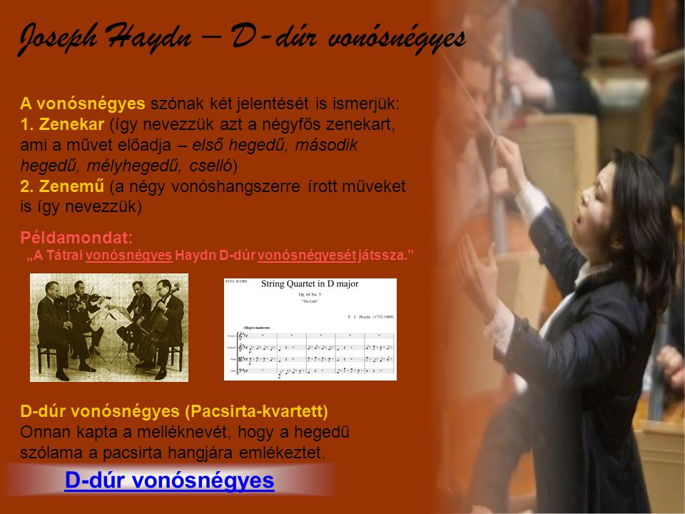 """""""A Tátrai vonósnégyes Haydn D-dúr vonósnégyesét játssza."""