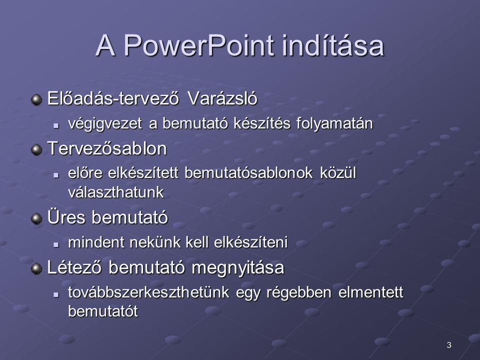 A PowerPoint indítása Előadás-tervező Varázsló Tervezősablon