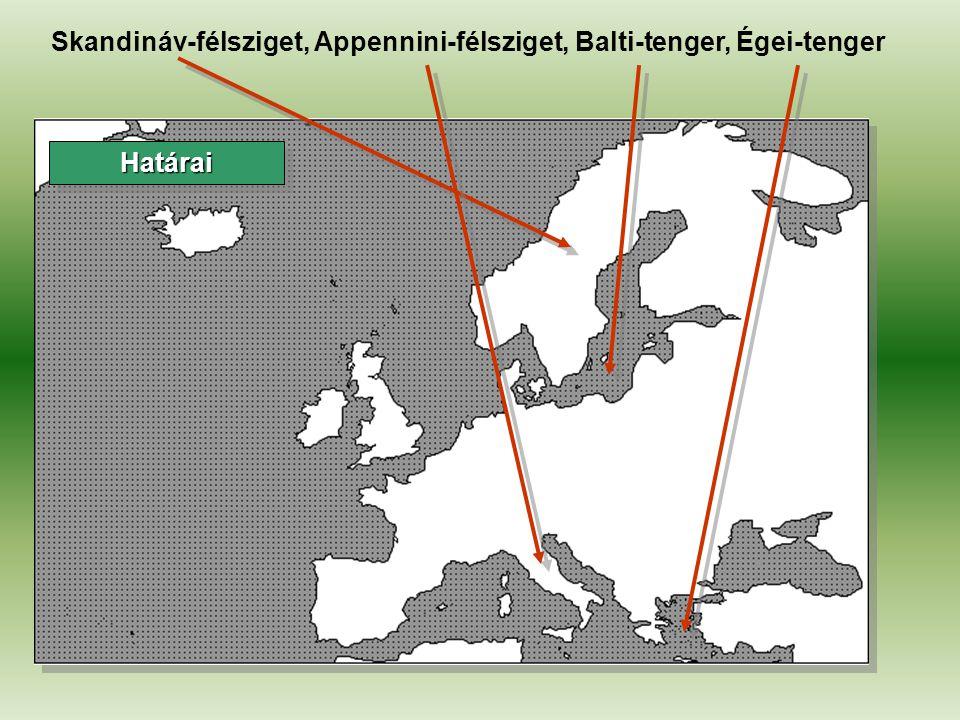 Skandináv-félsziget, Appennini-félsziget, Balti-tenger, Égei-tenger