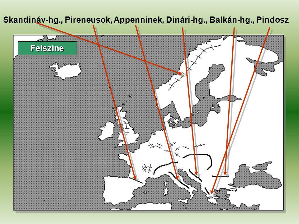 Skandináv-hg., Pireneusok, Appenninek, Dinári-hg., Balkán-hg., Pindosz