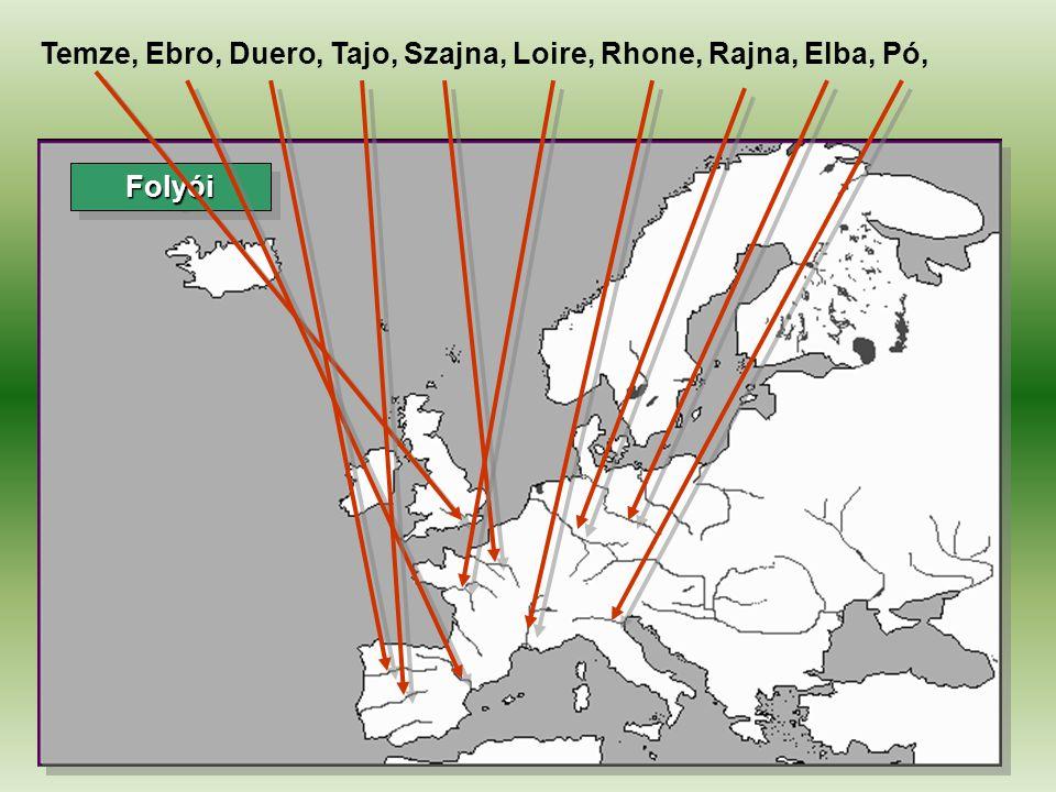 Temze, Ebro, Duero, Tajo, Szajna, Loire, Rhone, Rajna, Elba, Pó,